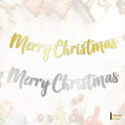 Merry Christmas Typography Banner Bunting Garland Hanging XMAS Party Decoration • 2.99£