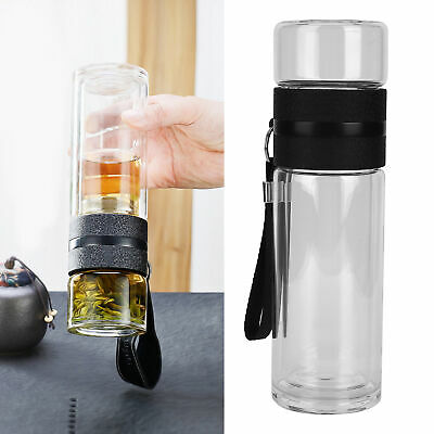 Tea Separator Bottle Double Wall Glass Tea Infuser Water Bottle For Home Office • 13.59£