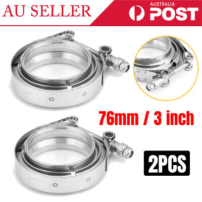 AU36.69 • Buy 2Pcs 3'' Inch V-Band Flange For Turbo Exhaust Downpipes Mild Steel Universal AU