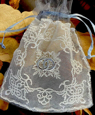 Sets Of 3   Hand Embroidered Favour Bags Organza And Lace - Wedding Motif • 3£