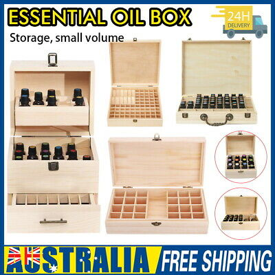 AU11.59 • Buy Essential Oil Storage Box Wooden 12-85 Slots Aromatherapy Organizer Holder AU