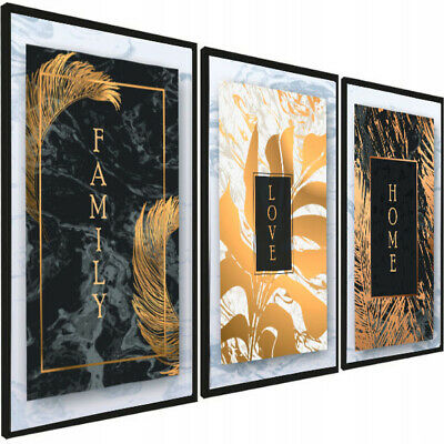 SET OF 3 LIVING ROOM PRINTS. Wall Art Poster Picture A4 A3 Prints Gold Leaf  • 9.99£
