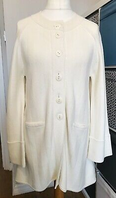 Caroline Charles Knit Cream Coat Cardigan Size 3 Buttons Pockets Flare Sleeves • 34.99£