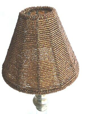Vintage Gold/copper Beaded Lamp Shade Use With Carrier For Candle/ Tealight/bulb • 14.50£