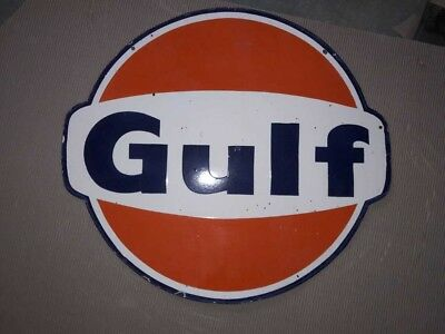 $ CDN323.96 • Buy Porcelain Gulf Sign SIZE 30  Double Sided Pre-Owned.