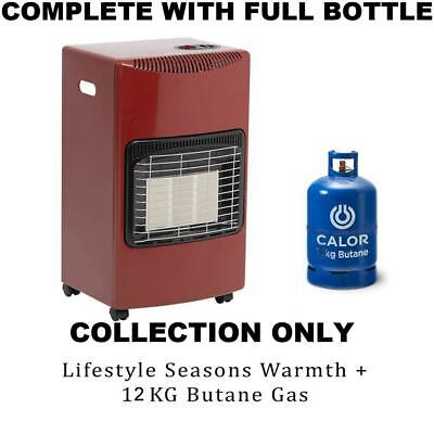 New Gloss Red Large Complete With Calor Gas Bottle & Reg Portable Mobile Heater • 415£