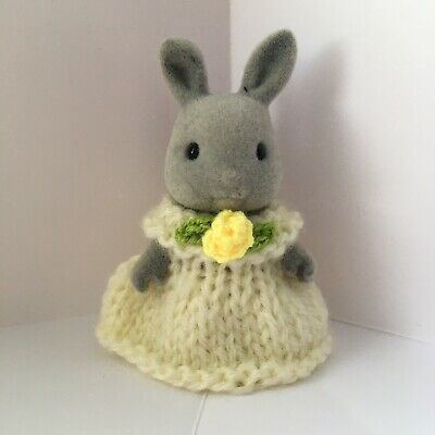 Sylvanian Families Clothes ~ Knitted Yellow Dress With Flower ~ Child • 1.89£