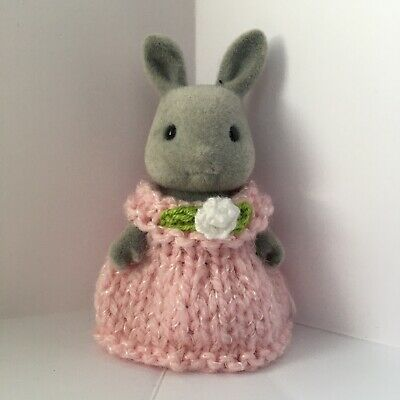 Sylvanian Families Clothes ~ Knitted Pink Shimmer Dress With Flower ~ Child • 1.89£