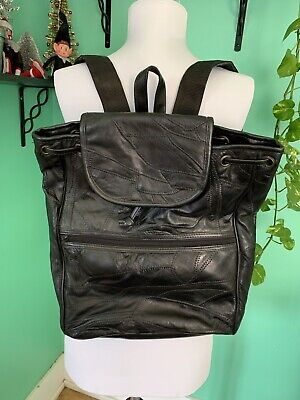 AU36.12 • Buy VTG 80s Leather Black Patchwork Drawstring Backpack Purse