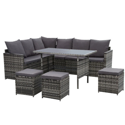 AU776.54 • Buy Gardeon Outdoor Furniture Dining Setting Sofa Set Lounge Wicker 9 Seater Mixed G