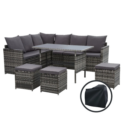 AU770.96 • Buy Gardeon Outdoor Furniture Dining Setting Sofa Set Wicker 9 Seater Storage Cover