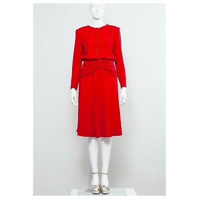 Fab Sexy Vintage 1980s Firetruck Red Wool Crepe CHLOÉ Draped Power Dress • 150£