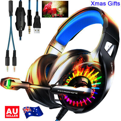 AU34.56 • Buy 2020 Gaming Headset Mic LED Headphones Surround For PC Mac PS4 Xbox One Laptop