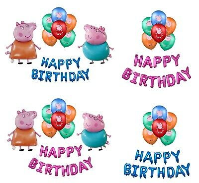 £12.99 • Buy Peppa Pig & George Family Birthday Balloon Party Decorations Foil Latex Balloon