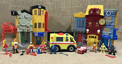 Lot Of Fisher Price Imaginext Rescue Firefighter Fire Station • 71.38£