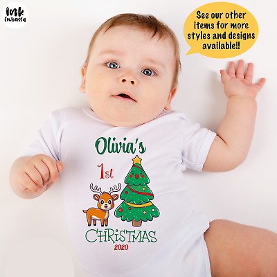 My First CHRISTMAS PERSONALISED Any Name BABY GROW VEST BODYSUIT Gift UNISEX  • 5.90£
