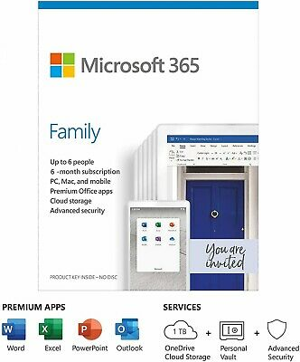 AU46.10 • Buy Microsoft 365 Family | Office 365 Home | 6 Months Subscription | Up To 6 Users