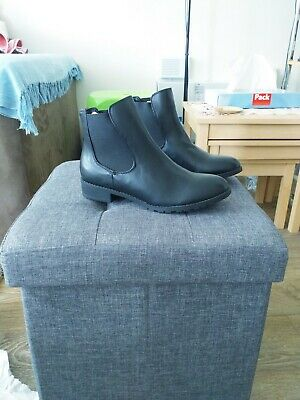 Womens London Rebel Ankle Boots Black Leather Size 4 • 21£