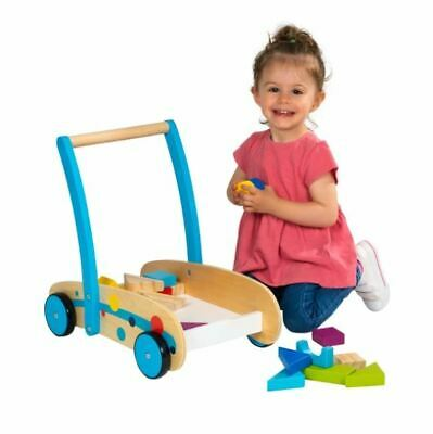 Baby First Steps Wooden Walker Toddlers Building Blocks Shapes Push Along Toy • 25.99£