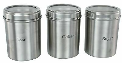 Stainless Steel Storage Containers With Acrylic Lid Tea Coffee Sugar Jar Set  • 12.95£