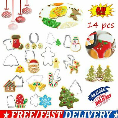 AU13.41 • Buy 14X Stainless Steel Christmas Cookie Cutters Xmas Baking Cake Fondant Mold Kit C