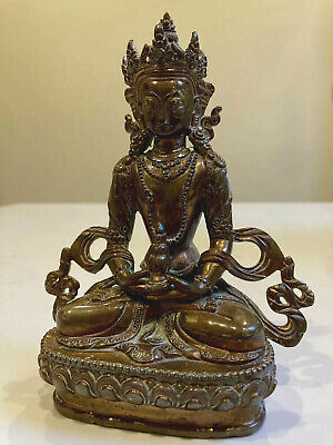 ANTIQUE CHINESE TIBETAN BRONZE BUDDHA 19th CENTURY QING DYNASTY SEALED SUPERB • 290£