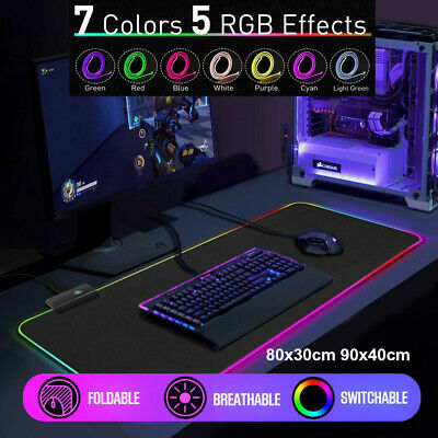AU22.99 • Buy RGB LED Gaming Mouse Pad Desk Mat Extend Anti-slip Rubber Speed Mousepad