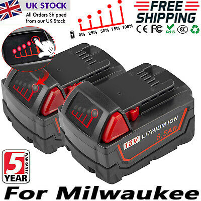2 Pack 18-Volt For Milwaukee M18 Extended Capacity Battery 48-11-1852 48-11-1850 • 40.99£