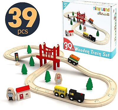 Toy Train Set- 39 Piece Wooden Track & Train Pack Fits Thomas Brio Tiny Land • 19.99£