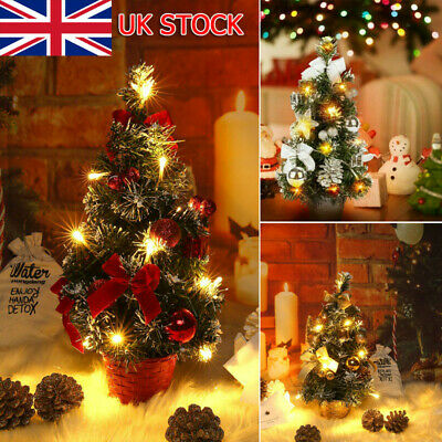 Tabletop Artificial Small Mini Christmas Tree With LED Lights Ornaments Xmas UK • 11.99£