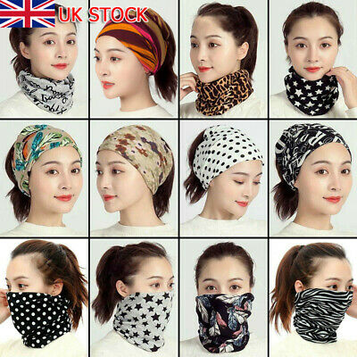 Womens Snood Face Covering Mask Ladies Multifunction Ring Neck Scarf Head Band • 4.79£