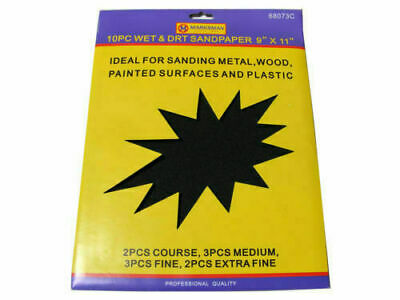 Sand Paper Wet & Dry Assorted Emery Fine Extra Fine Medium Coarse Sheets 9 X11  • 3.49£