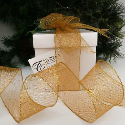 Christmas Ribbon Gold Sparkle Glitter Wire Edged Craft Gift Wrapping 'goldie' • 9.95£