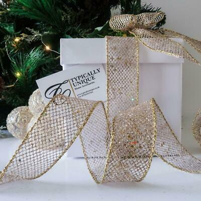 New Christmas Ribbon Gold Glitter Mesh Wire Edged Craft Gift Wrapping 'star' • 6.50£