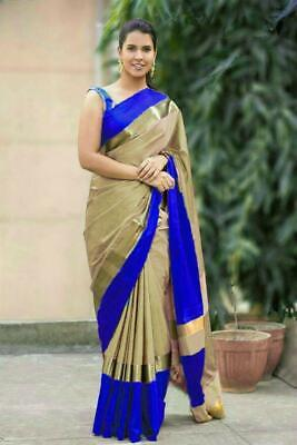 New Design Bollywood Saree Cotton Silk Sari Party Wear Kanchipuram Indian  • 9.99£