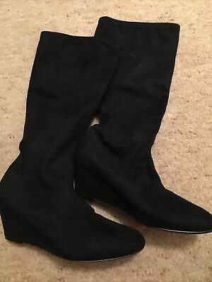 Boots Pull On Stretch Suede Size 3 • 8£