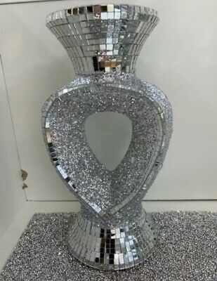 Silver Heart Vase Romany Mirrored Bling Mosaic Italian 26CM Sparkle Home Decor ✨ • 18.99£