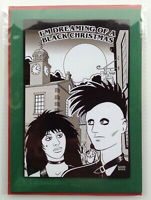 £2.99 • Buy NEW! Goths At Whitby Christmas Card • Handmade Unique Design • Town Clock