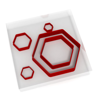 Set Of 5 Hexagon Cutters Fondant Cookie Icing Polymer Clay Craft Sharp Shape  • 7.99£