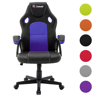 Office Chair Swivel Executive Adjustable Seat Racing Gaming PU Leather Computer • 65.99£
