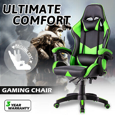 AU125.90 • Buy Gaming Chair Office Executive Recliner PU Leather Computer Racer Seating Green