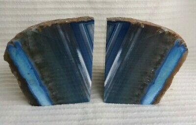 Large Blue Agate Crystal Bookends. 2 Kg • 50£