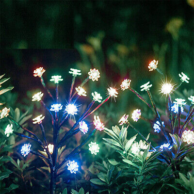 2X LED Outdoor Garden Path Lights Solar Power Firework Lamp Starburst Stake • 13.99£