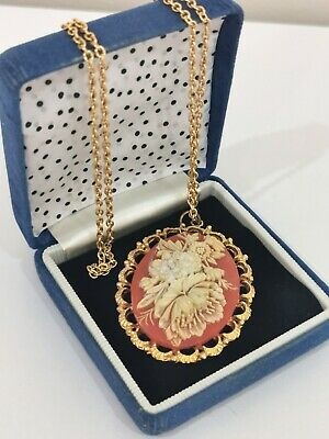 £12 • Buy Vintage Gold Tone Long Chain Flower Cameo Style Pendant Necklace Pretty Retro