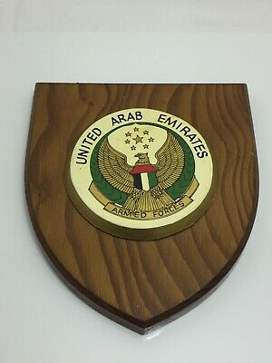 Vtg Wooden Regimental Mess Shield / Plaque - United Arab Emirates Armed Forces • 27£