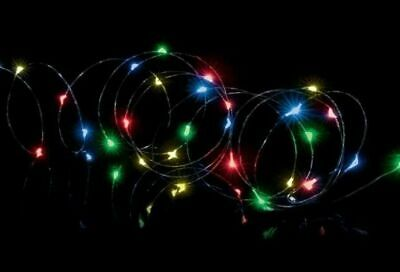 Set 20 LED Multi Coloured Pin Fairy Decorative Lights Christmas XMAS Silver Wire • 3.29£