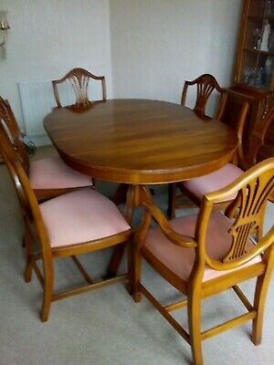 Bradley  Yew 6 Seater Dining Table And 6 Wheatsheaf Back Chairs. Excellent. • 499£
