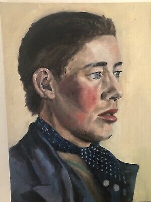 """C1940 Portrait, Young Man, Boy Gypsy Romany 30x16"""" Oil Painting On Artists Board • 80£"""