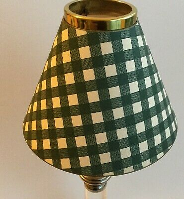 £6 • Buy New Small Shade Green & White Gingham, For Carrier Electric Tea Light Or Candle