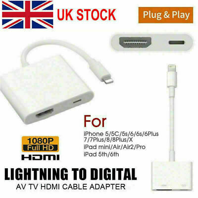 Apple To HDMI Digital TV AV Adapter Cable For IPhone 11 Pro Xs 8 7 Plus IPad • 8.98£